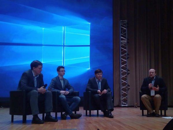 Участники брифинга (слева направо) Роман Масленников, Максим Голубев, Борис Падалкин и Никита Богославский